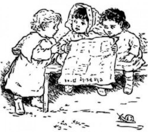 Children reading the paper - public domain image