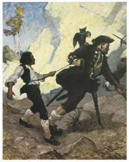 an illustration for Treasure Island, by N.C. Wyeth