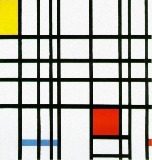 Mondrian Composition with Red, Yellow, and Blue - believed public domain, from WPClipart