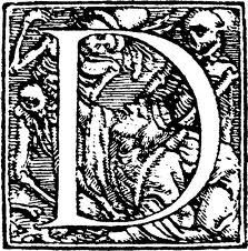 "A decorative ""D"" for Donne by Hans Holbein, public domain"