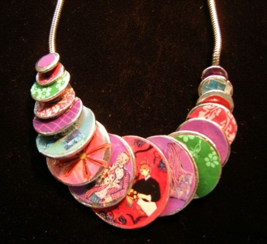"""Mattise"" collage necklace - by Clare Floyd DeVries"