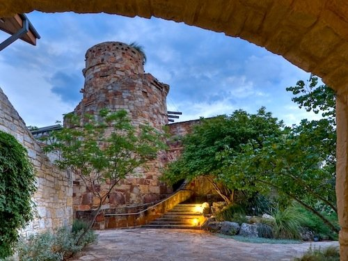 The Wildflower Center's courtyard and tower rain-cistern