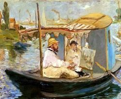 Manet painting in his floating studio, as painted by Monet (from his own boat? or from the riverbank?)