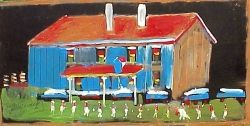 Painting of a cotton gin by Jimmie Lee Sudduth at Visionary Art
