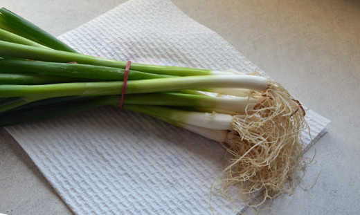 Spring onions ready for dicing