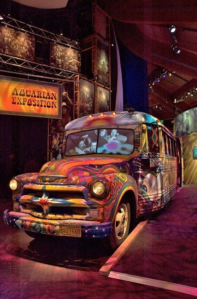 Check out the bus! You can sit in the bus and watch a short film about Woodstock, it's groovy!