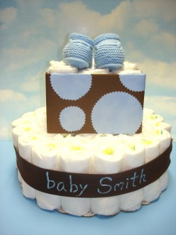 diaper cake from beaucoup ~ Fine Favors.  Stylish giving.
