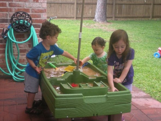 My Kids with their Toddler Water Table