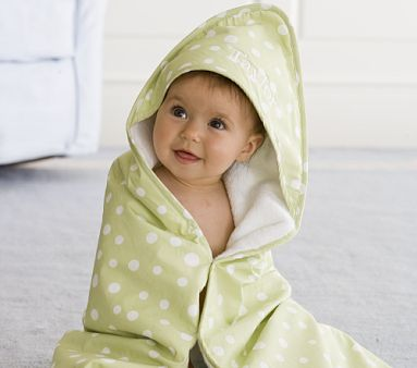 Pottery Barn Kids Polka Dot Nursery Wraps ~ Classic polka dots give our nursery set a cute, preppy touch. The washcloth and hooded towel are each woven of plush Turkish cotton terrycloth and feature a solid piping border. Available colors listed belo