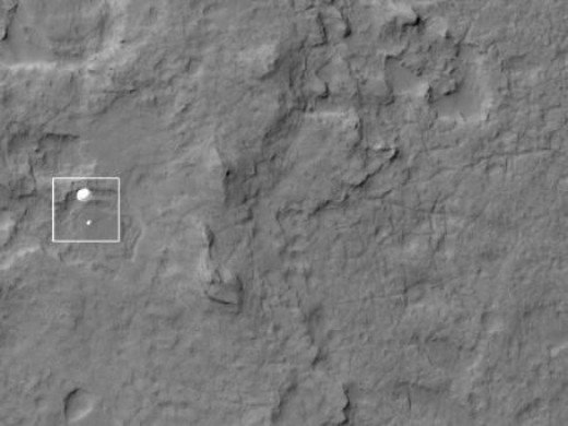This is a pretty phenomenal picture in my mind - it's Curiosity heading to the surface of Mars. You can actually see the parachute deployed!