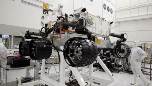 Changing the tires on Curiosity while it was on Earth. Just like your car, right?