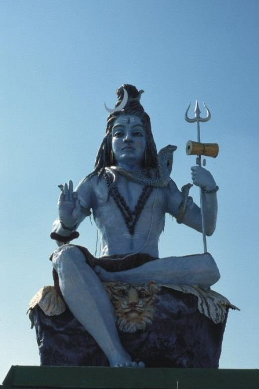 A statue of Shiva erected for the event.
