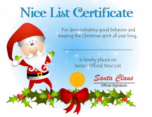 believing in santa - nice list certificate