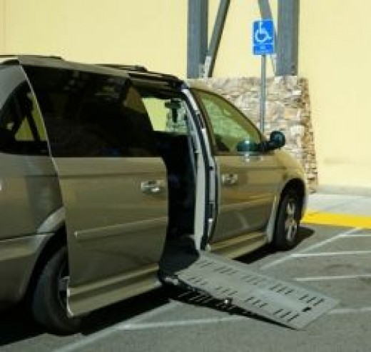 disabled parkiing - van accessible access aisle