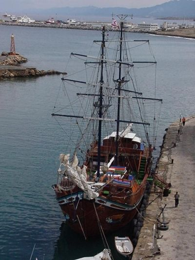 Ship Docked Next to Castle on Cypris (or Kibris)--King Richard the Lionheart Stayed Here!