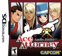 Apollo Justice: Ace Attorney Nintendo DS game cover. From left to right: Apollo Justice, Klavier Gavin, Trucy Wright, Kristoph Gavin