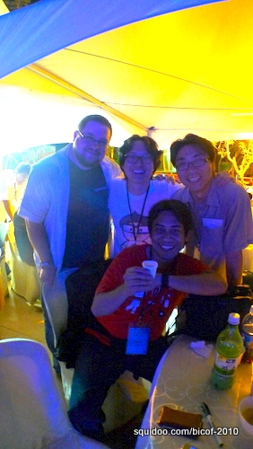 My husband Arnold at the Artists' Night party with C.B. Cebulski (USA), Lim Duck Young (Korea) and Jung Chul (Korea).