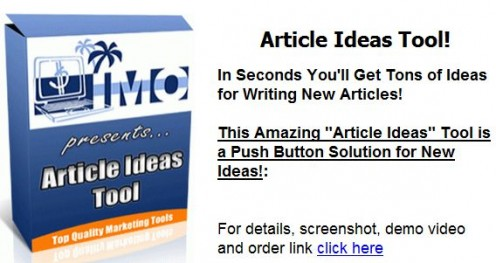 Produces article, essay ideas, etc. fast!