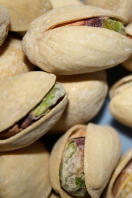 Macro photograph of pistachios