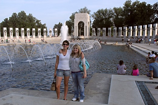 My daughter and a friend at the WWII Memorial