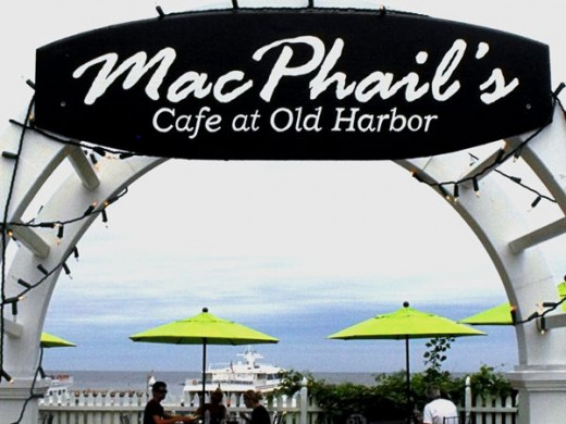 Mac Phails cafe, great place for clam chowder and ice cream for dessert. You can sit under umbrellas and watch the boats come into Old Harbor.