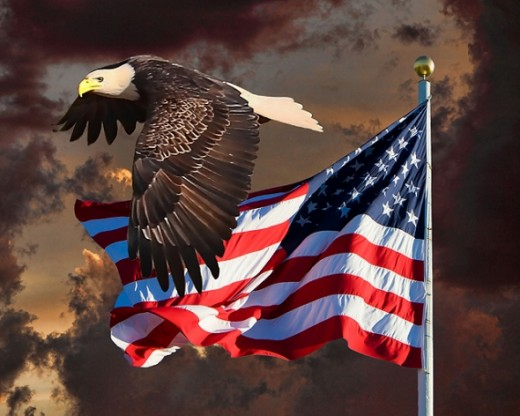 Eagle, Flag and Clouds