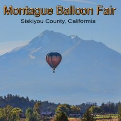 A hot air balloon with Mount Shasta in the background.