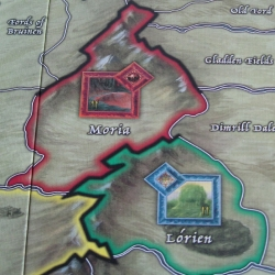 Close up of WOTR board, showing Moria and Lorien regions.