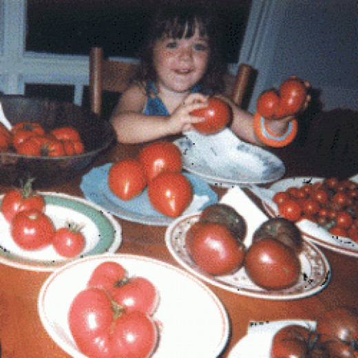 Our daughter with heirloom varieties of tomatoes
