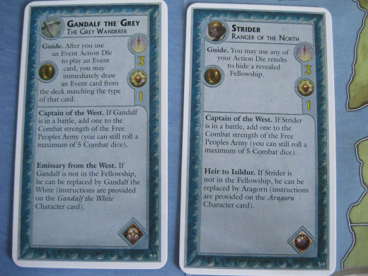 "Photo: Gandalf and Strider Character cards, showing their ""Captain of the West"" combat ability."