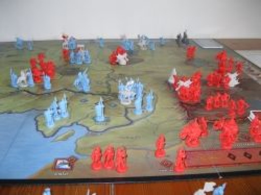 Armies massing for battle, near the beginning of the game.