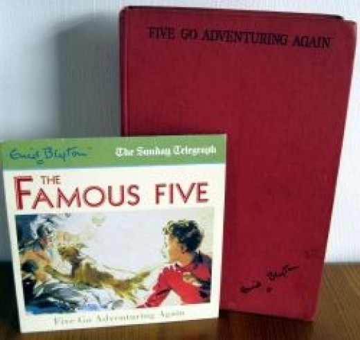 """My daughter's battered copy of """"Five Go Adventuring Again"""" and audio CD"""