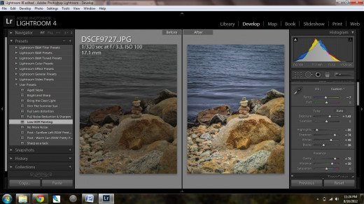 Increasing the brightness, clarity, and vibrancy of a photo. You can edit jpg photos in Lightroom, not just RAW