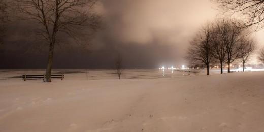 Lake Michigan at midnight, it really doesn't get dark.