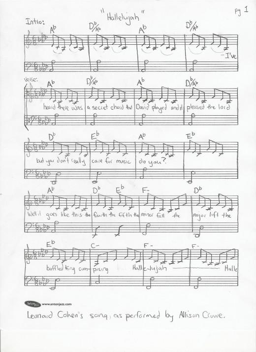 Hallelujah - Leonard Cohen's song - piano transcription for Allison Crowe piano version - page 1