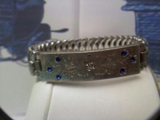 Vintage Pitman & Keeler overhand floral design with stones bracelet in sterling silver