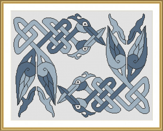 Picture Credit  'Pictish Creatures in Denim' - designed by the author, faeriesong for celtic-cross-stitch.com