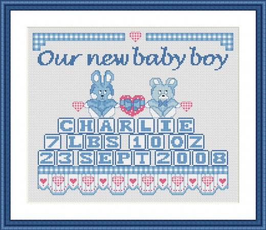 Picture Credit  'Baby Boy Sampler '  - designed by the Author, faeriesong, for celtic-cross-stitch.com
