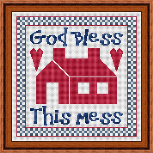 Picture Credit  'God Bless This Mess'  - designed by the Author, faeriesong, for celtic-cross-stitch.com