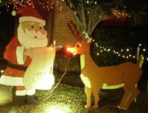 Rudolph is a popular Christmas time yard ornament.