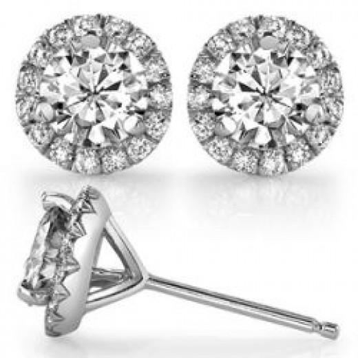 Round Moissanite & Diamond Halo Martini Stud Earrings [ear147]