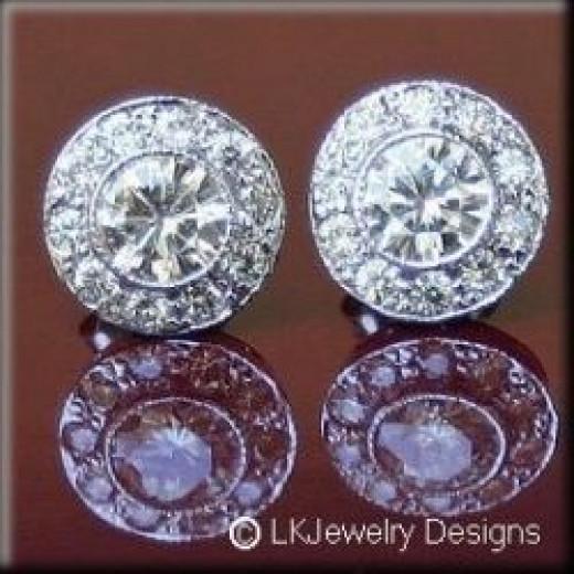 2.30 ct Moissanite Round Halo Pave Stud Vintage Earrings