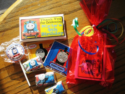 Party favors for my son's Thomas the Tank Engine party.  He handed these out at preschool.