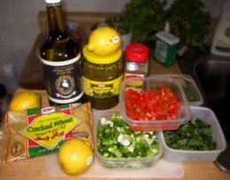 Ingredients for the Stuffed Grape Leaves.