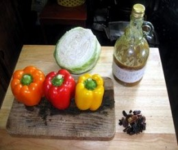 Ingredients for the Red Chile & Pecan Slaw.