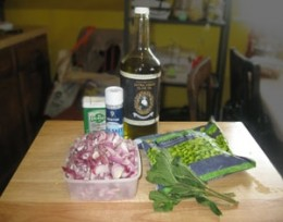 Ingredients for the Fava Beans with Red Onions & Mint (I substituted frozen Edamame for the fava beans in their pods this Easter).