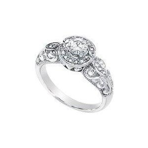 Women's 14k White-gold Moissanite And Diamond Ring