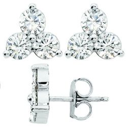 Round Moissanite Three Stone Earrings (3.5mm, 0.9ct) 14k W/Y [ear004c]
