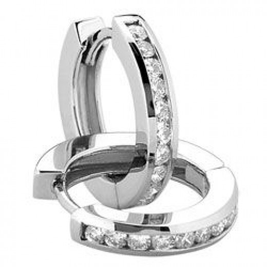 Style 9825M Channel Set Round Moissanite Earrings