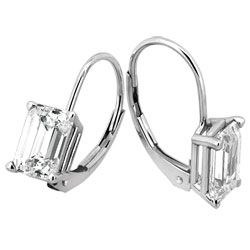 Style 9849M Radiant Cut Moissanite Leverback Earrings